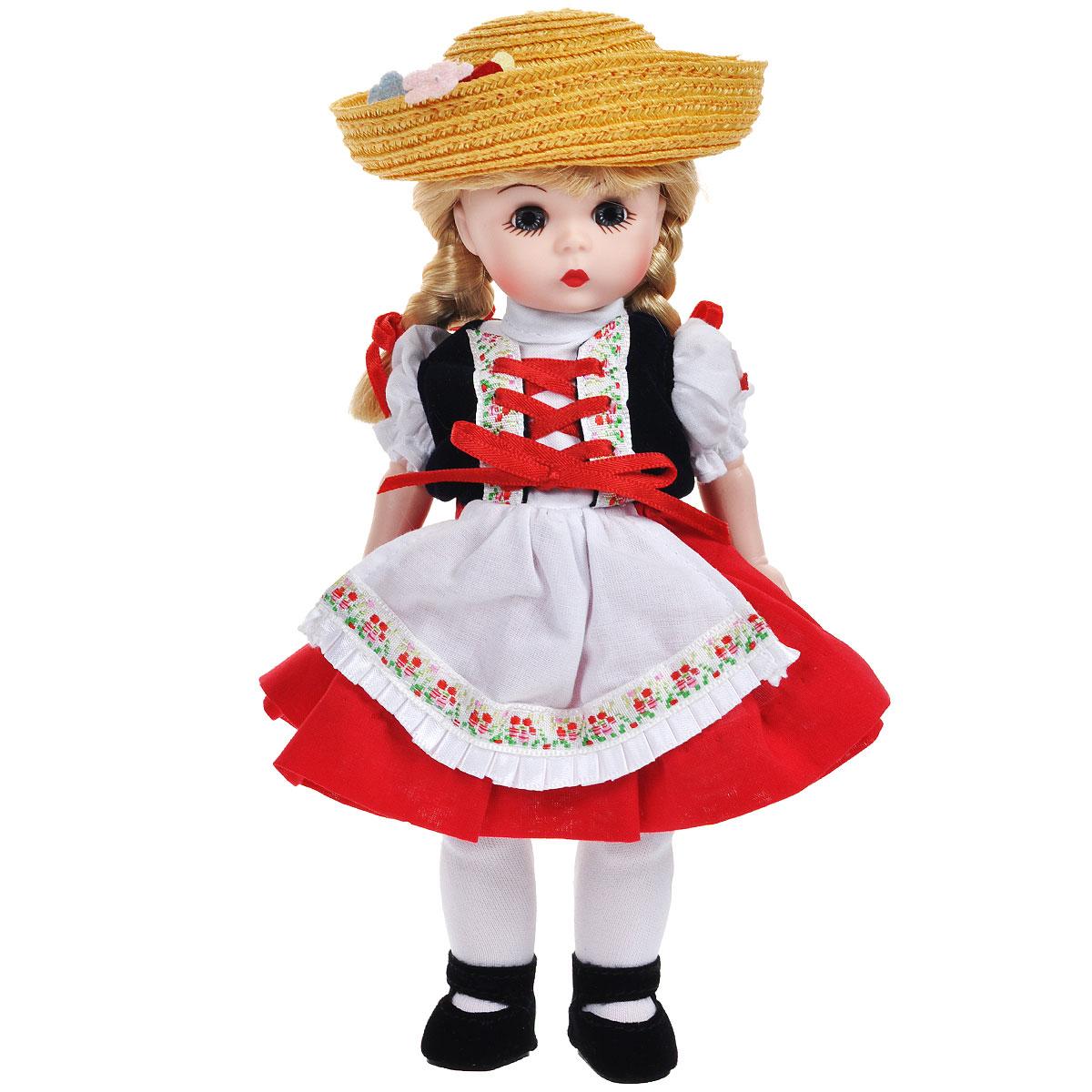 Madame Alexander Кукла Хейди64555Кукла Madame Alexander Хейди станет прекрасным украшением любой коллекции. Хейди - голубоглазая блондинка с двумя косами, перевязанными красными ленточками, одета в костюм в национальном швейцарском стиле, состоящий из белой блузки, жилетки, красной юбочки с белым кружевным подъюбником и белого передника. На ее ножках - белые колготы и черные бархатистые туфельки с ремешками. Соломенная шляпа с загнутыми полями, украшенная цветами, дополняет образ. Реалистичные глазки куклы закрываются, если положить ее на спину.