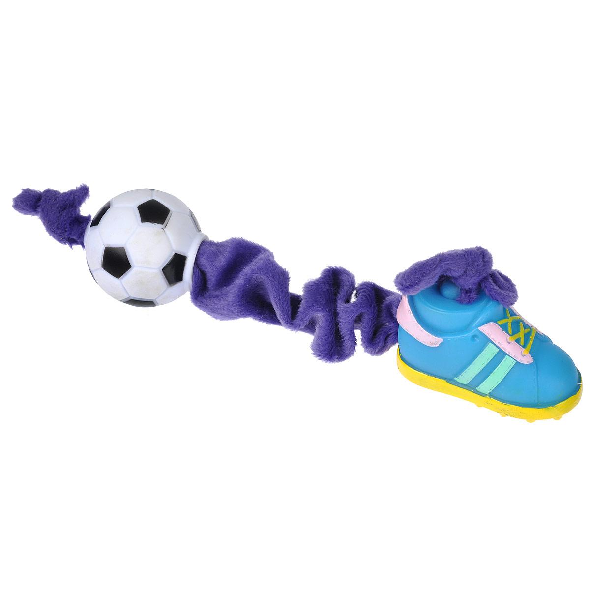 Игрушка для собак I.P.T.S. Ботинок и мяч, цвет: фиолетовый, голубой16269/620166Игрушка I.P.T.S. Ботинок и мяч, изготовленная из текстиля и резины, выполнена в виде мяча с одной стороны и ботинка с другой. Эластичная веревка позволяет собаке активно играть. Такая игрушка не навредит здоровью вашего питомца и увлечет его на долгое время. Общая длина игрушки: 24-32 см. Диаметр мяча: 5 см. Размер ботинка: 7,5 см х 4 см х 5,5 см.