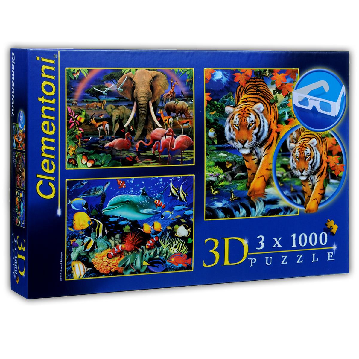 Ховард Робинсон. Пазл с 3D-эффектом, 3 х 1000 элементов08001Пазлы с 3D-эффектом из коллекции знаменитого английского художника Ховарда Робинсона, без сомнения, придутся по душе вашему ребенку. Собрав пазлы, включающие в себя 3000 элементов, он получит три ярких цветных картинки с изображением живой природы Африки. На протяжении 36 лет художник создаёт красочные шедевры, многие из которых используются, как фоновые изображения для телевизионных шоу и голливудских фильмов! Теперь у вас появилась редкая возможность воссоздать его шедевры. В комплект входят 3D очки. Пазлы - прекрасное антистрессовое средство и замечательная развивающая игра для детей. Собирание пазла развивает у ребенка мелкую моторику рук, тренирует наблюдательность, логическое мышление, учит усидчивости и терпению, аккуратности и вниманию.