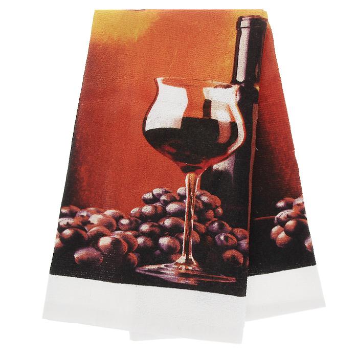 Полотенце кухонное Коллекция Вино, 38 см х 63 смПЛФ-1/2Махровое полотенце Коллекция, выполненное из натурального хлопка, оформлено изображением бокала вина и грозди винограда. Полотенце предназначено для использования на кухне и в столовой. С помощью специальной петельки полотенце можно вешать на крючок. Полотенце Коллекция Вино - отличный вариант для практичной и современной хозяйки.