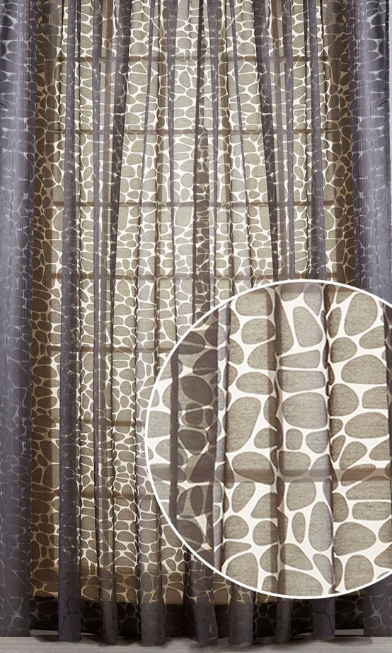 Штора Primavelle Piera, на ленте, цвет: шоколад, высота 270 см. 61782027-P0661782027-P06Элегантная штора Primavelle Piera выполнена из 75% вискозы и 25% полиэстера. Полупрозрачная легкая ткань и приглушенная гамма привлекут к себе внимание и органично впишутся в интерьер помещения. Штора в современном графическом дизайне, создана для тех, кто любит экспериментировать. С ее помощью вы легко преобразите интерьер квартиры, сделав его динамичным и стильным. Такие шторы идеально подходят для солнечных комнат. Мягко рассеивая прямые лучи, они хорошо пропускают дневной свет и защищают от посторонних глаз. Отличное решение для многослойного оформления окон! Эта штора будет долгое время радовать вас и ваших близких! Штора крепится на карниз при помощи ленты, которая поможет красиво и равномерно задрапировать верх.