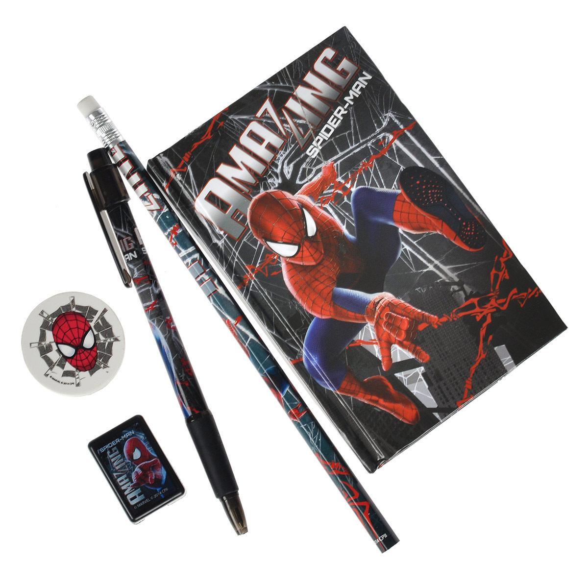 Канцелярский набор Spider-Man, 5 предметовSMBB-US1-360Канцелярский набор Spider-Man станет незаменимым атрибутом в учебе любого школьника. Он включает в себя чернографитный карандаш с ластиком на конце, ластик, точилку, автоматическую ручку и записную книжку. Ручка снабжена прорезиненной вставкой в области захвата, подача стержня производится путем нажатия на кнопку в верхней части ручки. Обложка записной книжки выполнена из плотного картона, внутренний блок содержит листы с печатью. Все предметы набора оформлены изображениями супергероя Человека-Паука.