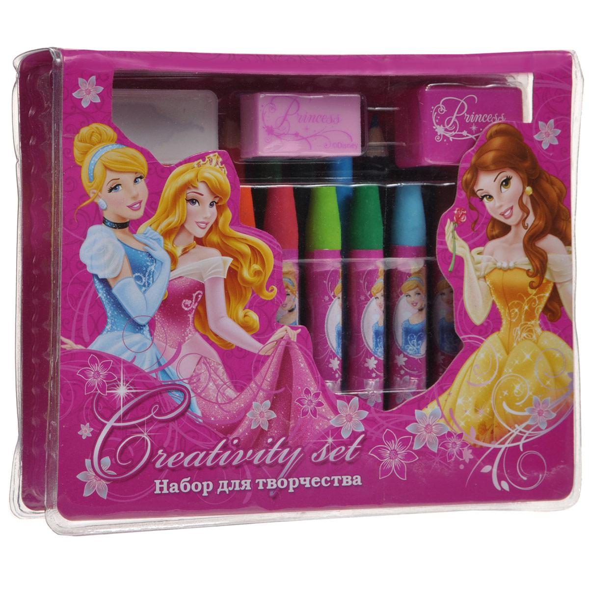 Набор для рисования Princess, 25 предметовPRAA-US1-460199Набор для рисования Princess позволит вашей малышке проявить свои творческие способности. Он включает в себя цветные карандаши двенадцати цветов, восковые мелки десяти цветов, точилку, ластик и стикер. Каждый мелок обернут в бумажную гильзу с изображением диснеевских принцесс Золушки и Белль. Набор откроет юной художнице новые горизонты для творчества, а также поможет развить мелкую моторику рук, цветовое восприятие, фантазию и воображение.