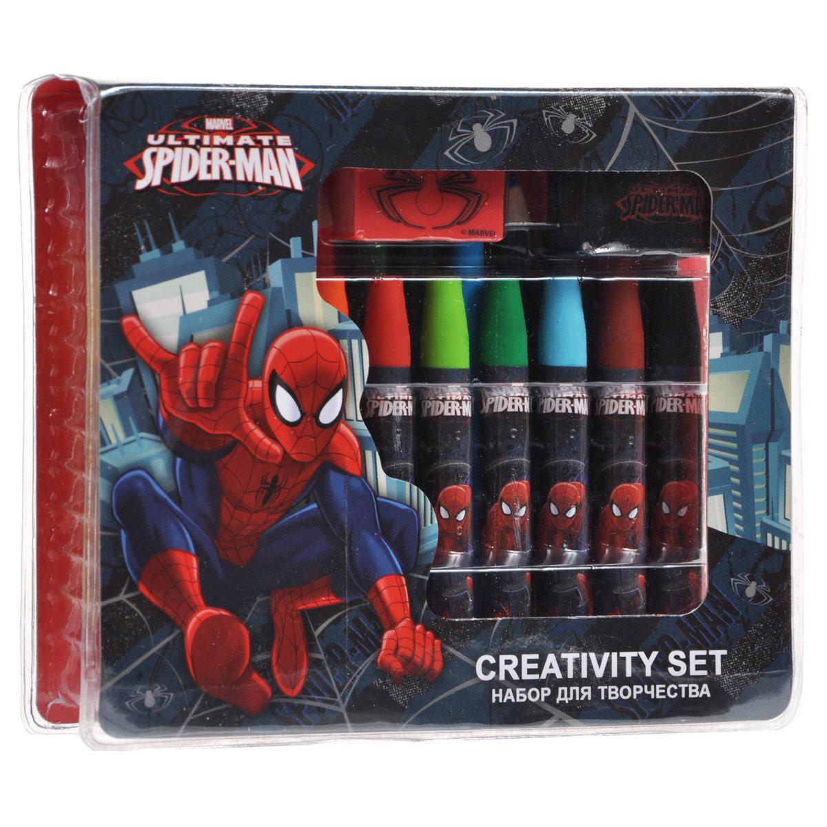 Набор для рисования Spider-Man, 25 предметовSMAA-US1-460199Набор для рисования Spider-Man позволит вашему ребенку проявить свои творческие способности. Он включает в себя цветные карандаши двенадцати цветов, восковые мелки десяти цветов, точилку, ластик и стикер. Каждый мелок обернут в бумажную гильзу с изображением Человека-Паука. Набор откроет юному художнику новые горизонты для творчества, а также поможет развить мелкую моторику рук, цветовое восприятие, фантазию и воображение.