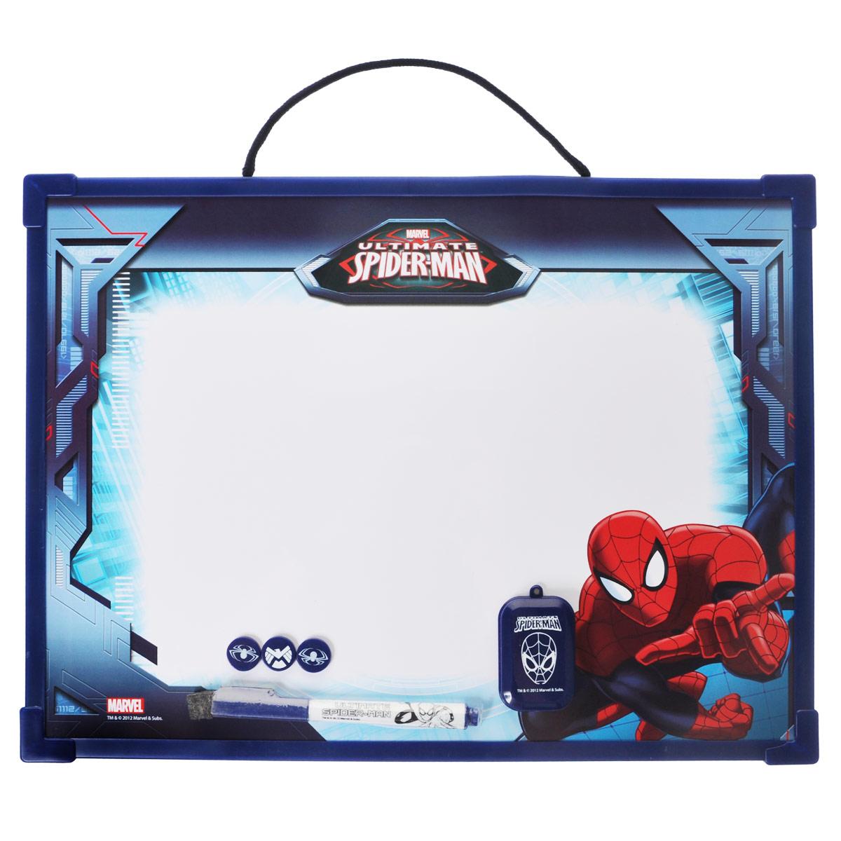 Доска магнитно-маркерная Spider-man, цвет: темно-синий, с аксессуарамиSMAB-US1-Z150098Магнитно-маркерная доска Spider-man - прекрасный способ для развития творческих и мыслительных способностей ребенка. Края доски обрамлены пластиком, который защищает ее от повреждений. В комплекте с доской предусмотрены специальный маркер с колпачком-стеркой, три круглых магнита и специальная губка для стирания записей и рисунков. Доска оформлена изображением Человека-Паука и имеет удобную веревочную петлю для подвешивания. Чернила маркера безопасные и нетоксичные. Магнитно-маркерная доска Spider-man отлично подойдет для игр и учебы.