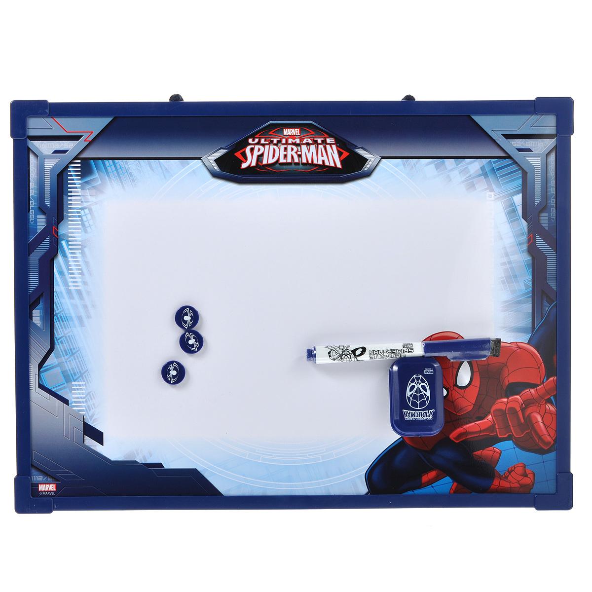 Доска магнитно-маркерная Spider-Man, цвет: темно-синий, с аксессуарами. SMBB-US2-Z150098SMBB-US2-Z150098Магнитно-маркерная доска Spider-Man - прекрасный способ для развития творческих и мыслительных способностей ребенка. Края доски обрамлены пластиком, который защищает ее от повреждений. В комплекте с доской предусмотрены специальный маркер с фетровым стирателем на колпачке, три круглых магнита и специальная губка для стирания записей и рисунков. Доска оформлена изображением Человека-Паука и имеет удобную веревочную петлю для подвешивания. Чернила маркера безопасные и нетоксичные. Магнитно-маркерная доска Spider-Man отлично подойдет для игр и учебы.