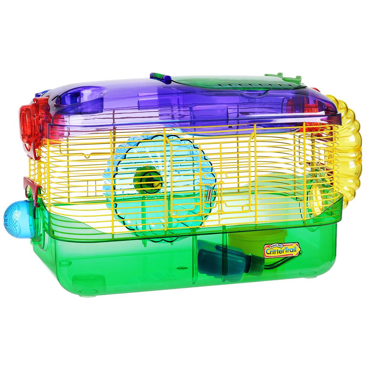 Клетка для грызунов I.P.T.S. One, с игровым комплексом, 41 см х 27 см х 28 см24875Яркая цветная клетка снабжена всем необходимым для отдыха и активной жизни грызунов. Подходит для мышей, песчанок, хомяков. Клетка оборудована колесом для подвижных игр, специальной трубой для передвижения, кормушкой и поилкой. Есть отдельный этаж, который будет служить местом для отдыха. Клетка выполнена из прозрачного пластика. Надежно закрывается на защелки. Такая клетка станет уединенным личным пространством и уютным домиком для маленького грызуна. Высота стенки поддона: 8,5 см.