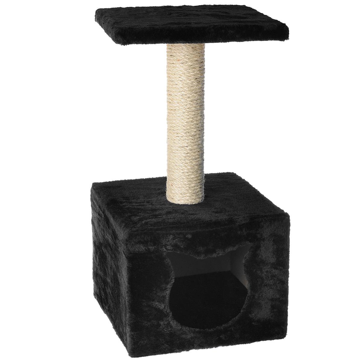 Домик-когтеточка I.P.T.S., с площадкой, цвет: черный, 30 см х 30 см х 60 см16432Домик-когтеточка I.P.T.S. выполнен из высококачественных материалов, предназначен для кошек. Кошка будет с удовольствием точить когти о специальный столбик, изготовленный из сизаля. А отдохнуть она сможет либо на площадке, находящейся наверху столбика, либо в расположенном внизу домике.