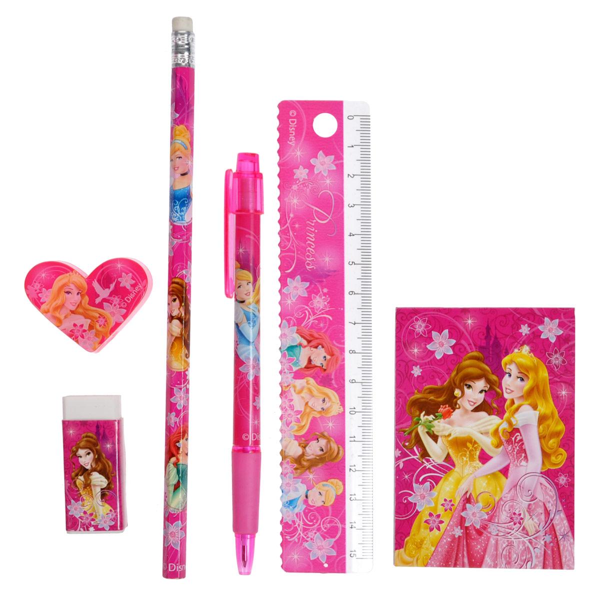 Канцелярский набор Princess, 7 предметовPRAB-US1-75409-HКанцелярский набор Princess станет незаменимым атрибутом в учебе любой школьницы. Он включает в себя пластиковый пенал, чернографитный карандаш с ластиком, автоматическую ручку, ластик, точилку, пластиковую линейку 15 см и небольшой блокнотик. Пенал снабжен поднимающейся подставкой для пишущих принадлежностей. Он раскрывается в центре, секции разворачиваются, и пенал можно использовать в качестве стакана для канцелярских принадлежностей. Ручка снабжена прорезиненной вставкой в области захвата, подача стержня производится путем нажатия на кнопку в верхней части ручки. Блокнотик снабжен картонной обложкой, внутренний блок содержит листы с печатью. Все предметы набора оформлены изображениями диснеевских принцесс Золушки, Белль, Ариэль и Авроры.