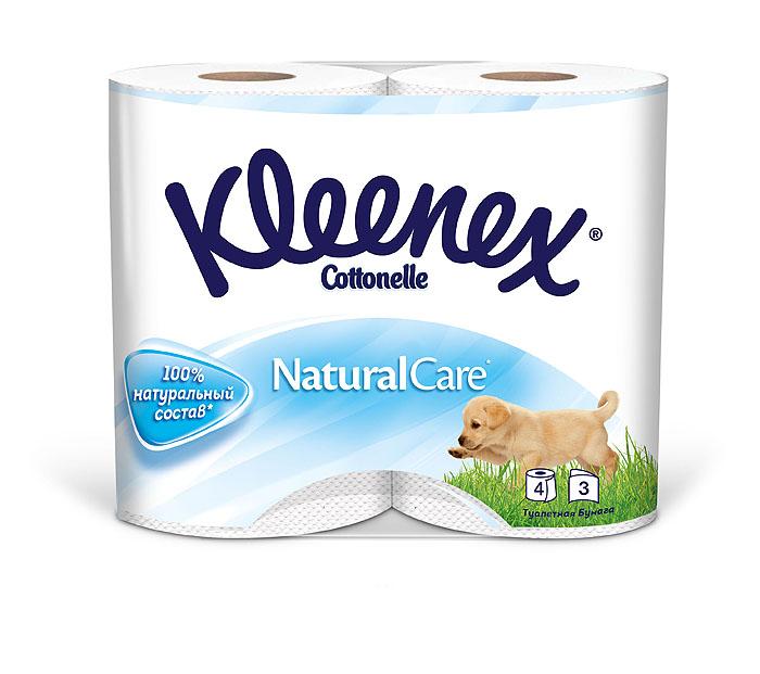 Туалетная бумага Kleenex Natural Care, трехслойная, цвет: белый, 4 рулона26083085Четырехслойная туалетная бумага Kleenex Natural Care изготовлена из целлюлозы высшего качества. Листы белого цвета имеют рисунок с тиснением в виде собачек. Мягкая, нежная, но в тоже время прочная, бумага не расслаивается и отрывается строго по линии перфорации.