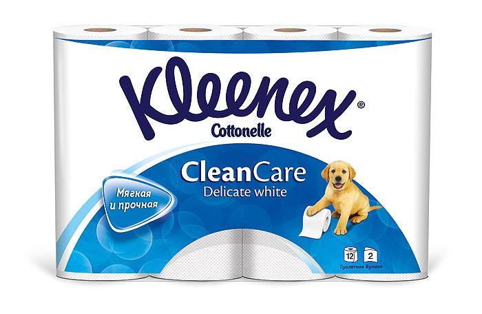 Туалетная бумага Kleenex Delicate White, двухслойная, цвет: белый, 12 рулонов260830912Двухслойная туалетная бумага Kleenex Delicate White изготовлена из целлюлозы высшего качества. Листы белого цвета имеют рисунок с тиснением в виде собачек. Мягкая, нежная, но в тоже время прочная, бумага не расслаивается и отрывается строго по линии перфорации.
