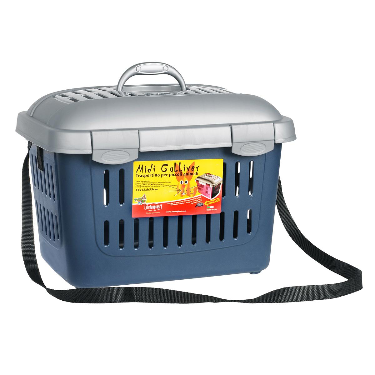 Переноска для грызунов I.P.T.S. Midi, цвет: синий, 44 см х 33 см х 33 см16186Переноска для грызунов I.P.T.S. Midi выполнены из высококачественного пластика синего цвета, позволяет комфортно перевозить животное. Крышка и боковые стороны переноски оснащены отверстиями для вентиляции. Прочная ручка обеспечивает большую безопасность при переноске. Крышка надежно крепится к корпусу при помощи защелок. Идеально подходит для транспортировки вашего маленького питомца, например, к ветеринару. Размер переноски: 44 см х 33 см х 33 см.