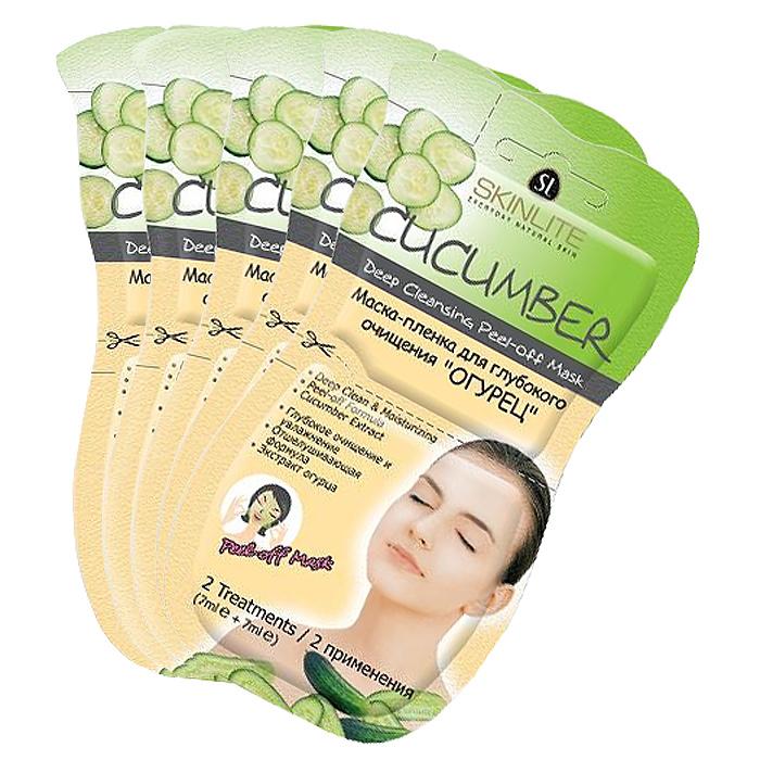 Skinlite Набор масок-пленок для лица Огурец, для глубокого очищения, 5 штSL-243Маска-пленка для глубокого очищения Огурец мягко удаляет загрязнения пор и мертвые частички кожи, а Экстракт Огурца интенсивно увлажняет, смягчает и успокаивает Вашу кожу, делая ее шелковистой. Специальная формула маски позволяет натуральным ингредиентам глубоко проникать в поры кожи, очищая и тщательно увлажняя ее, придавая коже свежий и здоровый вид. Способ применения: 1. Очистите лицо от макияжа. 2. Откройте упаковку и нанесите маску тонким слоем, избегая области глаз и губ. 3. Оставте маску на лице примерно на 15 минут, до полного высыхания (потрогайте маску на лице, если не остается следов на пальцах - можно снимать). 4. Снимайте маску медленно, снизу вверх, т.е. от нижней ее границы, осторожно отделяя края маски от кожи. Если на коже остались частички маски, сполосните водой. Товар сертифицирован.