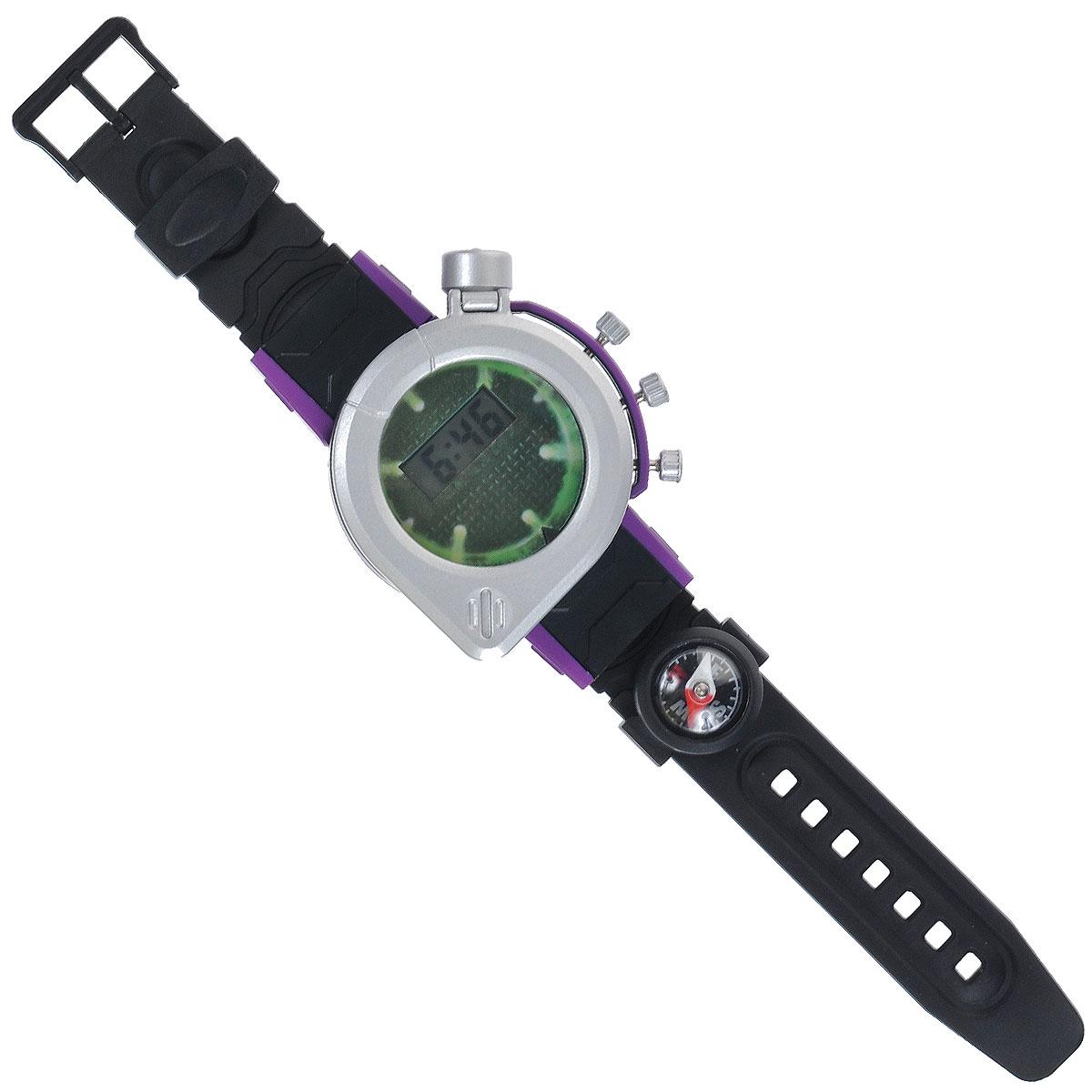 Игрушка Turtles Шпионские часы, цвет: черный, серебристый9822Игрушка Turtles Шпионские часы непременно понравится вашему маленькому непоседе. Цифровые часы выполнены из безопасного пластика, оснащены дисплеем с защитным экраном-лупой и тремя кнопками и имеют стильный дизайн. С ними ваш ребенок всегда будет знать точные время и дату, а также сможет воспользоваться встроенным фонариком и компасом. Ремешок часов регулируется и имеет отсек для хранения микро-карты памяти или бумажного сообщения. В комплект входит инструкция по эксплуатации на русском языке. Порадуйте своего ребенка таким замечательным подарком! Рекомендуется докупить 2 батарейки мощностью 1,5V типа LR41/AG3 (товар комплектуется демонстрационными).