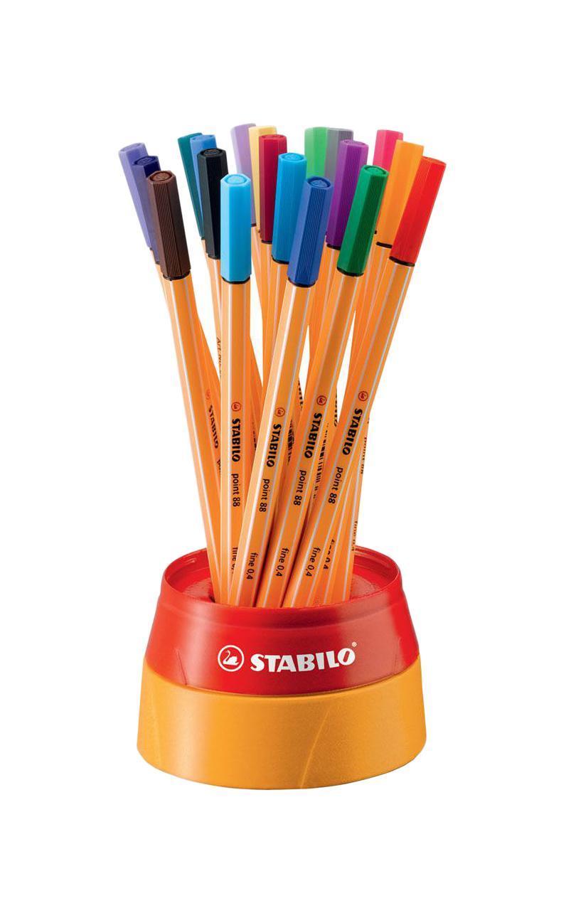 Набор капиллярных ручек Stabilo Point 88, в пластиковом футляре Twister, 19 шт8819-1Набор капиллярных ручек Stabilo Point 88 состоит из 19 одноразовых ручек с разноцветными чернилами, с необыкновенной мягкостью письма и исключительной надежностью. Пишут в любом положении. Долгое время не высыхают без колпачка. Капиллярная ручка Stabilo Point 88 - это универсальный пишущий инструмент для письма, рисования и черчения. При работе с линейками и трафаретами не оставляет следов чернил на чертежных инструментах, благодаря металлическому стержню, защищающему наконечник. Чернила на водной основе мгновенно высыхают, легко смываются и не имеют запаха. Набор поставляется в пластиковом стакане-тубусе. Открывается поворотом крышки.