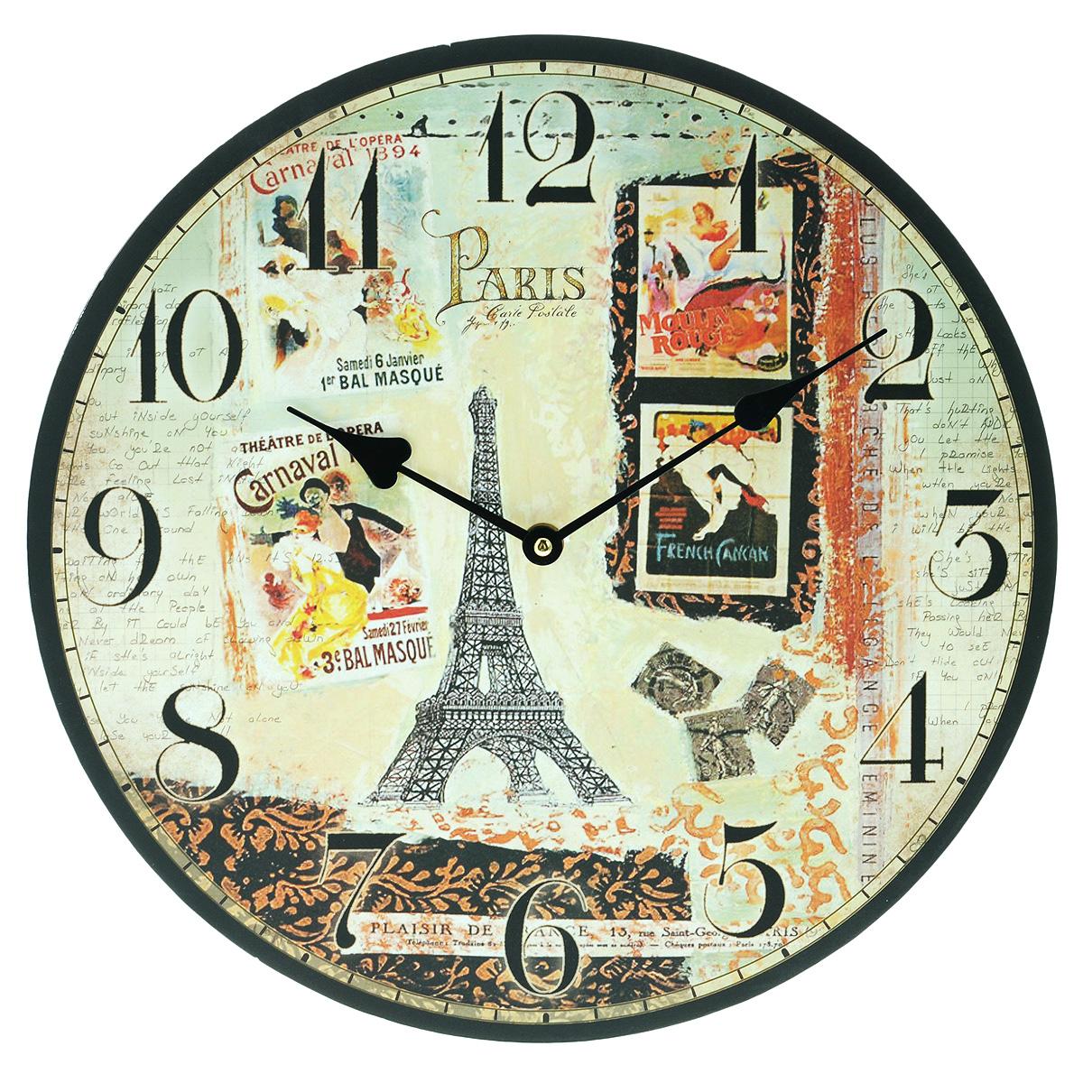 Часы настенные Париж, большие. 13BJ3426313BJ34263Часы настенные Париж своим эксклюзивным дизайном подчеркнут оригинальность интерьера Вашего дома. Часы выполнены из дерева, имеют две стрелки - часовую и минутную. Циферблат часов не защищен стеклом. Часы работают от одной батарейки. С задней стороны имеется отверстие для крепления часов на стену. Для кухни, гостиной, прихожей или дачи - эти часы станут незаменимым аксессуаром любого интерьера.