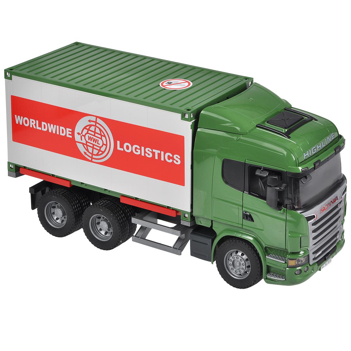 Bruder Фургон Scania03-580Фургон Bruder Scania, выполненный из прочного безопасного материала зеленого, белого и красного цветов, отлично подойдет ребенку для различных игр. Машина является уменьшенной копией фургона фирмы Scania. Фургон предназначен для перевозки грузов и оснащен трехколесным механическим погрузчиком, который легко крепится к задней части машины. С помощью него в фургон можно легко загрузить различный груз. Задние двери фургона открываются на две створки. Контейнер устанавливается на четыре опоры; при необходимости его можно отсоединить и использовать отдельно. Двери водительской кабины открываются; зеркала складываются. В кабину помещается небольшая игрушка. Прорезиненные колеса обеспечивают фургону устойчивость и хорошую проходимость. В комплект входят машина, механический погрузчик и два паллета. К машине подходит модуль со световыми и звуковыми эффектами (не входит в комплект). Порадуйте своего ребенка таким замечательным подарком!