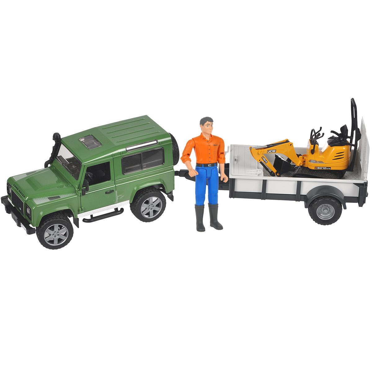 Bruder Внедорожник Land Rover Defender c прицепом и мини-экскаватором02-593Внедорожник Bruder Land Rover Defender, выполненный из прочного безопасного материала, отлично подойдет ребенку для различных игр. Машина является уменьшенной копией внедорожника фирмы Land Rover Defender. В комплект также входят прицеп-платформа, мини-экскаватор JCB. 8010 CTS и фигурка рабочего. Внедорожник отличается высокой детализацией. С левой стороны проходит выхлопная труба. Капот поднимается и крюком фиксируется в верхнем положении. Передняя и задняя оси оснащены амортизаторами. Задние сиденья снимаются, и внедорожник превращается в удобный автомобиль для перевозки грузов. К задней двери внедорожника прикреплено запасное колесо. Также внедорожник оснащен фаркопом. Дверь водителя, пассажира и задняя двери открываются и снимаются. В салон помещается небольшая фигурка или игрушка. Передние колеса поворачиваются рулем. Кроме этого, в наборе прилагается дополнительный руль (расположен на днище автомобиля), которым через крышу можно управлять колесами внедорожника. ...