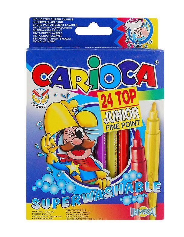 Набор суперсмываемых фломастеров Carioca Junior, 24 цвета40615От производителя Набор Carioca Junior состоит из 24 разноцветных фломастеров, которые отлично подойдут для школьных занятий и просто для рисования. Фломастеры рисуют яркими насыщенными цветами. Специальные чернила на водной основе легко смываются с кожи и отстирываются с большинства тканей. Корпус фломастеров изготовлен из полипропилена, а колпачок имеет специальные прорези, что обеспечивает вентилирование и еще больше увеличивает срок службы чернил и предотвращает их преждевременное высыхание. Характеристики: Длина фломастера: 15 см. Диаметр фломастера: 1 см. Размер упаковки: 12,5 см х 15 см х 2 см. Толщина линии: 2,5 мм.