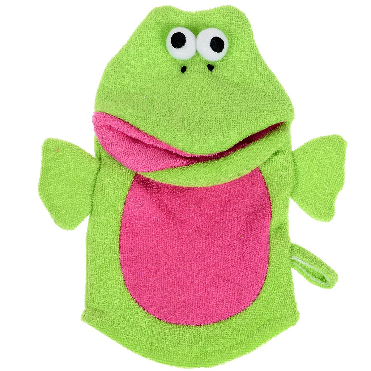 Варежка-мочалка детская Лягушка, цвет: зеленый, красный813-027Мочалка для детей Лягушка выполнена в виде варежке с забавной лягушкой, которая надевается на руку. Нежная и мягкая варежка из специального материала создана для купания самых маленьких. Мягкая ткань нежно массирует, удаляя загрязнения, оставляя кожу малыша чистой. Через ткань малыш чувствует руку мамы. Варежка непременно привлечет внимание крохи и станет прекрасным поводом помыться самостоятельно, когда ваш ребенок подрастет.