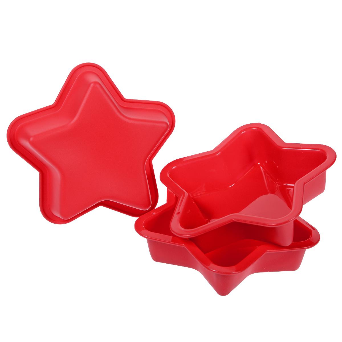 Набор форм для выпечки Звезда, цвет: красный, 3 шт830-131Набор форм для выпечки Звезда состоит из трех форм, выполненных из силикона в виде звезд. Основные преимущества силиконовых форм заключаются в том, что их можно использовать при очень высоких температурах, пища в них не пригорает и легко вынимается; после использования такие формочки очень легко мыть. Специальная форма изделий идеальна для приготовления кексов и пирожных. Такие формы также можно использовать для заморозки.