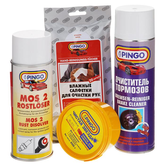 Набор для ремонта автомобиля Pingo. 85034-085034-0Набор для ремонта автомобиля Pingo - это комплекс средств, созданный помочь вам в ремонтных работах по автомобилю. Очиститель тормозов, входящий в состав набора, применяется для очистки тормозных дисков и барабанов, колодок, цилиндров и других деталей тормозных систем и сцепления. Эффективно удаляет продукты износа тормозных колодок, масляные и жировые загрязнения. Также используется как средство для очистки инструментов и обезжиривания поверхностей и деталей при ремонте двигателей, коробок передач, генераторов и т.п. Универсальная проникающая смазка MOS-2 с дисульфидом молибдена растворяет ржавчину, смазывает соединения, облегчает вывинчивание заклинивших болтов и гаек. Благодаря хорошим влаговытесняющим свойствам восстанавливает работу электроцепей при высокой влажности. Защищает дверные замки от коррозии и замерзания. В состав набора входят: - очиститель тормозов, аэрозоль (1 шт.), - влажные салфетки для очистки рук (1 уп.), ...
