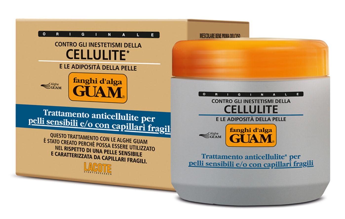 Guam Маска антицеллюлитная Fanchi Dalga для тела, для чувствительной кожи с хрупкими капиллярами, 500 мл1025Содержит инновационный липолитический комплекс Glicoxantine двойного действия: уменьшает локальные жировые отложения и устраняет целлюлит. Благодаря активным компонентам обладает антиоксидантным действием, усиливает микроциркуляцию, способствует выводу межклеточной жидкости, подтягивает и выравнивает кожный рельеф. Укрепляет сосуды и обеспечивает длительное увлажнение кожи. Идеальное средство для чувствительной кожи при проблемах с сосудами на ногах. Товар сертифицирован.