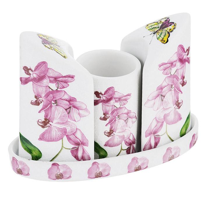 Набор для специй Briswild Орхидея, на подставке, 4 предмета545-741Набор для специй Briswild Орхидея, изготовленный из керамики, состоит из солонки, перечницы, емкости для зубочисток и подставки. Все предметы набора декорированы красочным изображением цветов и помещаются на специальную подставку овальной формы. Солонка и перечница легки в использовании: стоит только перевернуть емкости, и Вы с легкостью сможете поперчить или добавить соль по вкусу в любое блюдо. Набор Орхидея не только украсит стол, но и станет полезным аксессуаром как на кухне, так и за праздничным столом. Не использовать в микроволновой печи. Не применять абразивные моющие средства.