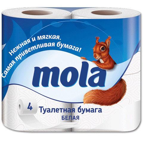 Туалетная бумага Mola, двухслойная, цвет: белый, 4 рулона - Mola2170Двухслойная туалетная бумага Mola имеет рисунок с тиснением. Необыкновенно мягкая и шелковистая бумага изготовлена из экологически чистого, высококачественного сырья - 100% целлюлозы. Мягкая, нежная, но в тоже время прочная, бумага не расслаивается и отрывается строго по линии перфорации. Товар сертифицирован.
