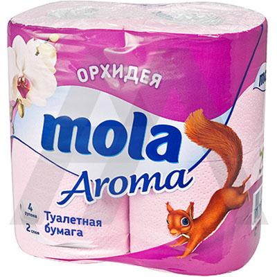 Туалетная бумага Mola Aroma, двухслойная, с ароматом орхидеи, цвет: розовый, 4 рулона2968Двухслойная туалетная бумага Mola Aroma имеет рисунок с тиснением и обладает приятным ароматом орхидеи. Необыкновенно мягкая и шелковистая бумага изготовлена из экологически чистого, высококачественного сырья - 100% целлюлозы. Мягкая, нежная, но в тоже время прочная, бумага не расслаивается и отрывается строго по линии перфорации. Товар сертифицирован.