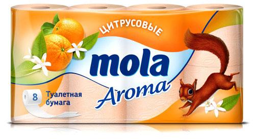 Туалетная бумага Mola Aroma, двухслойная, с ароматом цитрусовых, цвет: оранжевый, 8 рулонов3205Двухслойная туалетная бумага Mola Aroma изготовлена из целлюлозы высшего качества. Листы имеют рисунок с тиснением. Мягкая, нежная, но в тоже время прочная, бумага не расслаивается и отрывается строго по линии перфорации.