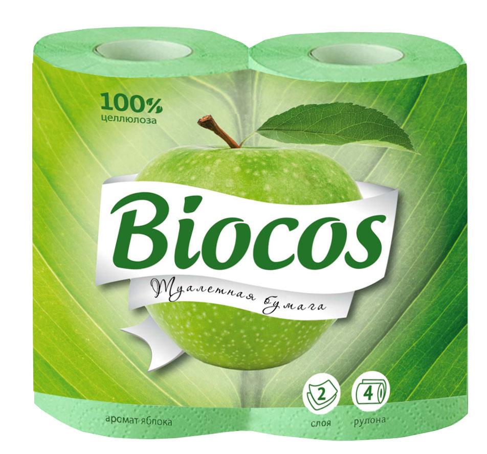 Туалетная бумага BioCos, двухслойная, с ароматом яблока, цвет: зеленый, 4 рулона. 91099109Двухслойная туалетная бумага BioCos изготовлена из целлюлозы высшего качества. Листы имеют рисунок с тиснением. Мягкая, нежная, но в тоже время прочная, бумага не расслаивается и отрывается строго по линии перфорации.