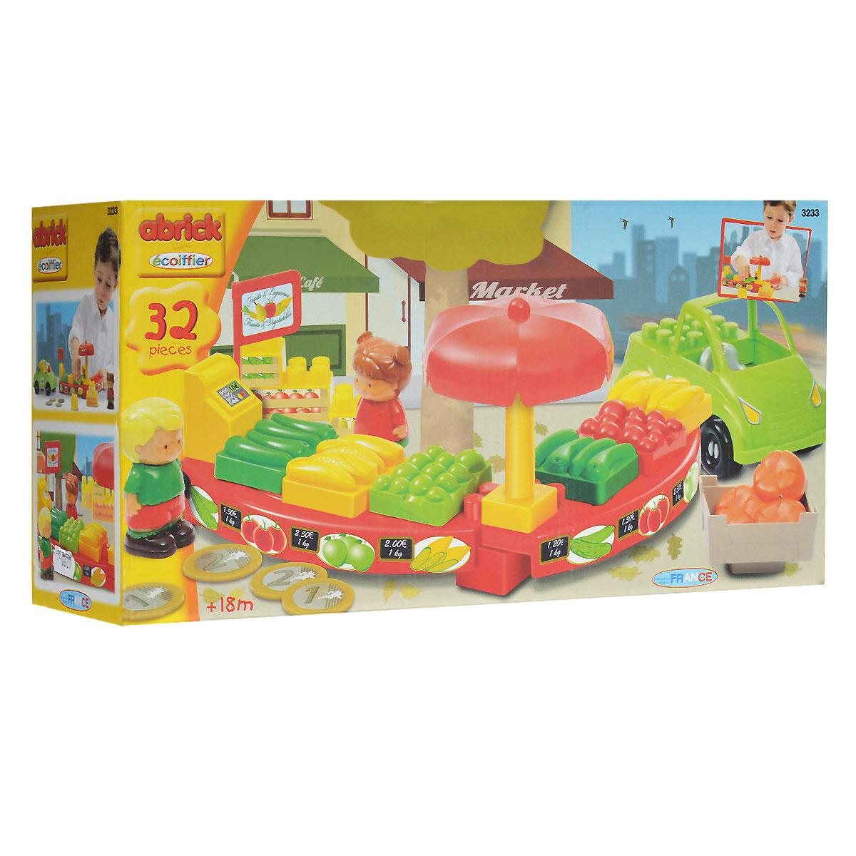 Ecoiffier Игровой набор-конструктор Магазин, 32 элемента3233Игровой набор-конструктор Ecoiffier Магазин понравится вашему ребенку и не позволит ему скучать. Набор включает в себя 32 пластиковых элемента, с помощью которых он сможет собрать прилавки для муляжей продуктов, а также блоки с игрушечными овощами, кассу, зонтик от солнца. В комплект входят машинка и фигурки покупателя и продавца. Ваш ребенок с удовольствием будет играть с набором, придумывая различные истории.