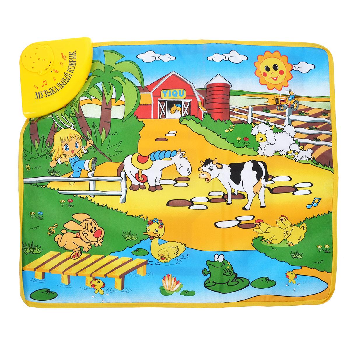 WSBD World Музыкальный развивающий коврик Веселая фермаI849050/YQ2951Мягкий развивающий коврик WSBD World Веселая ферма со световыми и звуковыми эффектами станет первой площадкой для игр вашего малыша. Яркий коврик выполнен из безопасных материалов и оформлен изображением красного домика, солнышка, девочки и забавных животных: овечек, лошадки, коровки, собачки, уточки с утенком, лягушки и курочек. При нажатии на изображения животных зазвучат издаваемые ими звуки, на изображение девочки - веселая песенка, на солнышко - приятная музыка, а нажав на красный домик, малыш услышит одну из 10 мелодий. Во время звучания подсвечиваются лампочки в нижней части звуковой панели. Такая уютная, красивая и в то же время многофункциональная окружающая обстановка идеально подходит для динамичного полноценного развития ребенка. Коврик легко складывается и удобен для хранения и перемещения. Коврик WSBD World Веселая ферма поможет малышу развить тактильное, звуковое и цветовое восприятия, воображение, концентрацию внимания, координацию движений...