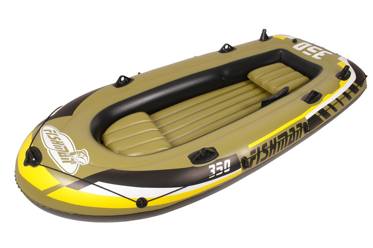 Лодка надувная Jilong Fishman 350 Set, с веслами и насосом, цвет: темно-зеленый, 305 см х 136 см х 42 смJL007209-1NЛодка отлично подходит для рыбалки, плавания по речкам и озерам. Материал лодки имеет высокую прочность. Он стоек к воздействию бензина, морской воды. В комплектацию входит трос. На лодку есть возможность установить мотор. Для этого нужно докупить транец. По бокам лодки установлены держатели для весел и удочек. Особенности: Алюминиевые весла; Ручной насос; Надувной пол; Двухуровневые сидения; Возможна подвеска электромотора; Держатели для удочек; Крепление для весел; Держатель для весел; Стропа по периметру лодки; 2-х камерная конструкция лодки для большей безопасности; Самоклеящаяся заплатка в комплекте. Характеристики: Размер лодки: 305 см х 136 см х 42 см. Материал: ПВХ. Толщина армированного ПВХ 0,57 мм. Максимальная грузоподъемность: 340 кг. Размер упаковки: 66,5 см х 23,5 см x 43 см. Производитель: Китай. Артикул: JL007209-1N.