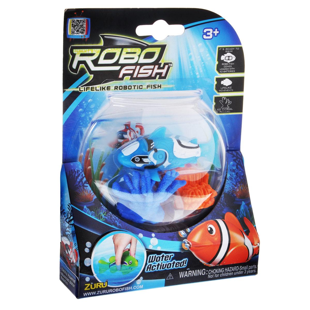 Игрушка для ванны Robofish РобоРыбка с двумя кораллами, цвет: голубой2538Игрушка для ванны Robofish РобоРыбка с двумя кораллами понравится вашему малышу и превратит купание в веселую игру. Она выполнена из безопасного пластика в виде маленькой красочной рыбки. Игрушка активируется в воде и имитирует движения и повадки рыбы. Электромагнитный мотор позволяет рыбке двигаться в пяти направлениях. При погружении в аквариум или другую емкостью с водой РобоРыбка начинает плавать, опускаясь ко дну и поднимаясь к поверхности воды. Внутри рыбки находится специальный грузик, регулирующий глубину ее погружения. Если рыбка плавает на дне, не всплывая, - уберите грузик; если на поверхности - добавьте грузик. В комплект также входят два элемента в виде ярких кораллов. Порадуйте вашего ребенка таким замечательным подарком! Игрушка работает от 2 батареек напряжением 1,5V типа LR44 (2 установлены в игрушку и 2 запасные).