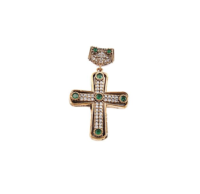 Крест-подвеска в византийском стиле. Белый металл, золочение, австрийские кристаллы, изумруды. Конец XX века
