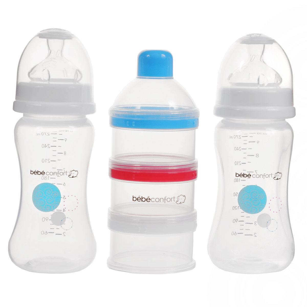Набор бутылочек для кормления Bebe Confort Maternity + дозатор смесей, от 0 до 12 месяцев, 270 мл, 2 шт