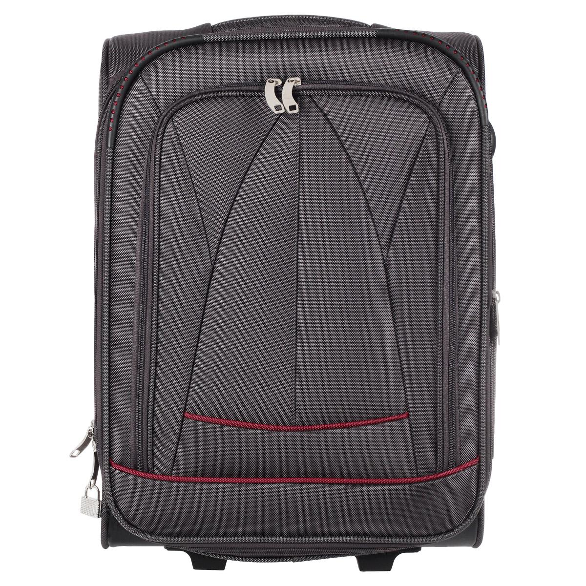 Чемодан на колесиках, высота 70 см, тканевый, цвет: серый, красныйER/ET1401_3Чемодан-тележка на двух колесах идеально подходит для поездок и путешествий. Чемодан изготовлен из полиэстера серого цвета с красными вставками. Чемодан имеет одно отделение для хранения одежды и аксессуаров, которое закрывается на застежку-молнию с двумя бегунками. К бегункам крепится навесной замок (два ключа поставляются в комплекте). Объем отделения можно увеличить. Внутри содержится вшитый сетчатый карман на молнии, а также багажные ремни для фиксации. Внутренняя поверхность изделия отделана полиэстером красного цвета. На передней стенке с лицевой стороны расположен карман на молнии. На задней стенке имеется вставка с карточкой для записи имени, адреса и номера телефона. Чемодан оснащен двумя колесиками и двумя пластиковыми ножками для большей устойчивости. Удобная телескопическая ручка выдвигается нажатием на кнопку. На одной из боковых сторон предусмотрены пластиковые ножки, на другой - удобная ручка для временного переноса. В верхней части чемодана также предусмотрена...