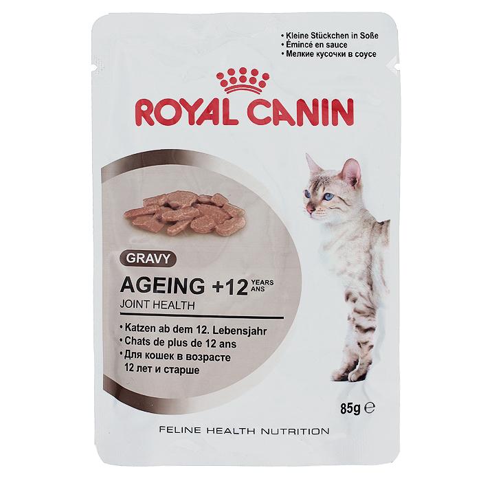 Консервы Royal Canin Ageing +12, для кошек старше 12 лет, 85 г0151Консервы Royal Canin Ageing +12 - измельченные кусочки в соусе для кошек старше 12 лет. У пожилых кошек старше 12 лет: - Ускоряется процесс старения клеток организма. - Кошка теряет в весе. - Снижается уровень активности. - Наблюдаются поведенческие изменения. Здоровье суставов. Способствует поддержанию здоровья суставов благодаря повышенному содержанию хондропротекторных веществ и незаменимых жирных кислот EPA и DHA. Здоровье почек. Способствует поддержанию здоровья почек пожилых кошек благодаря умеренному содержанию фосфора. Стимулирование аппетита. Инстинктивно предпочитаемый кошками нутриентный профиль. Состав: мясо и мясные субпродукты, злаки, субпродукты растительного происхождения, экстракты белков растительного происхождения, масла и жиры, минеральные вещества, моллюски и ракообразные, углеводы. Добавки (в 1 кг): Витамин D3: 230 ME, Железо: 3,6 мг, Йод: 0,1 мг, Марганец:...