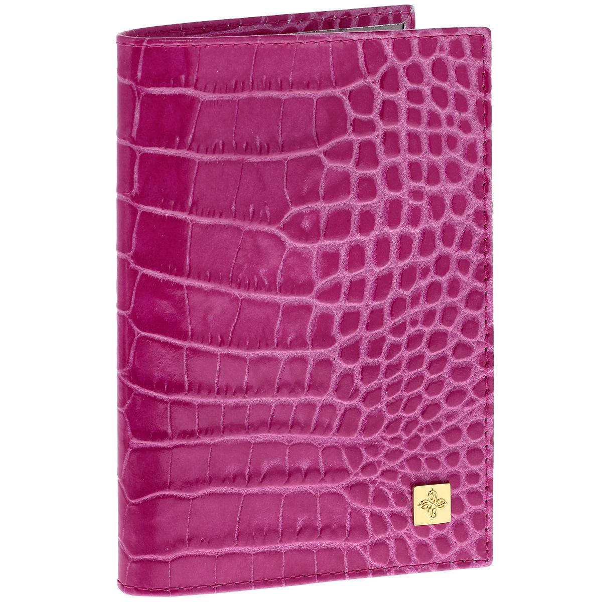 Обложка для паспорта Dimanche Фуксия, цвет: розовый. 970970Обложка для паспорта Dimanche Фуксия выполнена из натуральной кожи с декоративным тиснением под рептилию. На внутреннем развороте два кармана из прозрачного пластика. Снаружи обложка оформлена металлической вставкой с логотипом фирмы Dimanche. Обложка упакована в фирменную картонную коробку. Такая обложка станет отличным подарком для человека, ценящего качественные и необычные вещи.