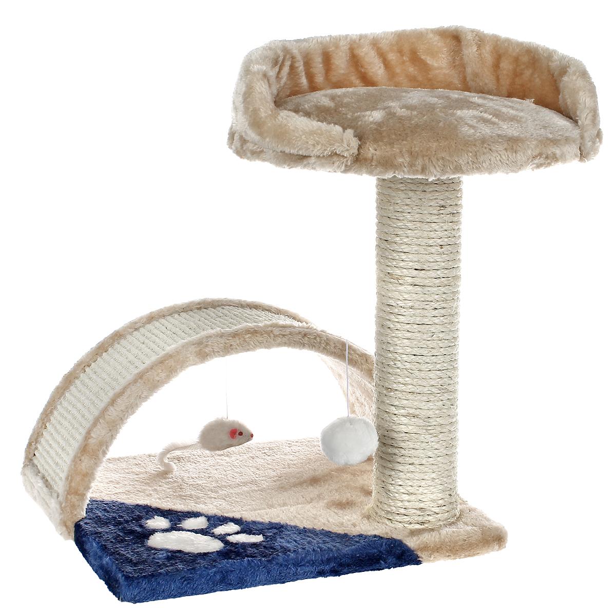 Когтеточка I.P.T.S., цвет: бежевый, голубой, 35 см х 35 см х 42 см16450/408315Когтеточка I.P.T.S. выполнена из высококачественного ДСП, обтянута мягким плюшем и предназначена для активных кошек. Когтеточка выполнена в виде столбика и мостика и состоит из двух уровней. Столбик обтянут сизалем, натуральным прочным материалом. Он поможет приучить кошку точить коготки в строго определенном месте. Целый дом будет в распоряжении у вашей кошки. Разные уровни высоты, когтеточка, место для отдыха в игровом комплексе позволят кошке резвится и точить коготки, а игрушки, прикрепленные к когтеточкам развлекут кошку.