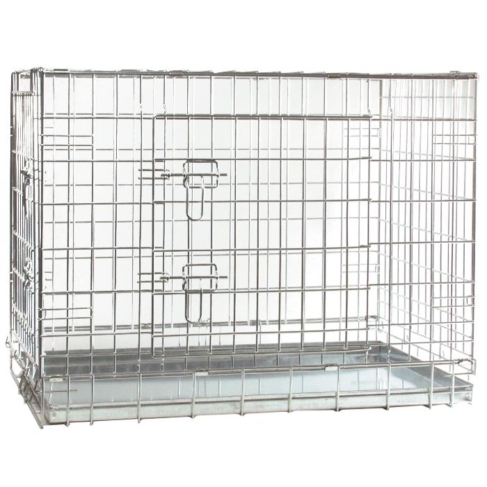 Клетка для собак I.P.T.S., 89 см х 60 см х 66 см16146Удобная двухдверная клетка I.P.T.S. предназначена для собак мелких и средних пород. Идеально подходит для транспортировки и содержания собак во время проведения выставки. Клетка выполнена из стальной проволоки. Клетка оснащена двумя дверями (передней и боковой), которые надежно закрываются на замки. Прочный поддон не повреждает поверхность, на которой размещается. Сверху имеется ручка для переноски.
