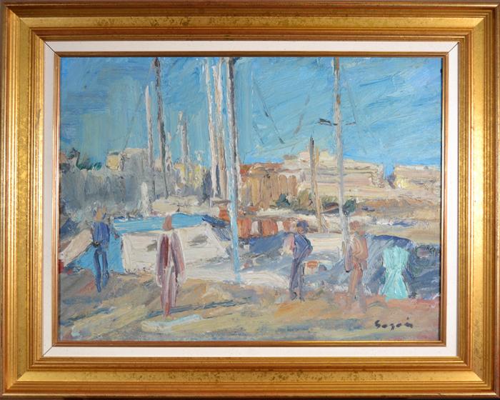 Картина Прогулка в Каннах (Promeneurs sur le port de Cannes). Художник Пьер Гогуа (Pierre Gogois). Холст, масло. Франция, около 1975 годаОТКР №302Картина Прогулка в Каннах (Promeneurs sur le port de Cannes). Художник Пьер Гогуа (Pierre Gogois, г.р. 1938). Холст, масло. Франция, около 1975 года. Размер рамы 78 х 63 см, размер окна 59,5 х 45 см. Сохранность очень хорошая. В правом нижнем углу подпись автора Gogois. На оборотной стороне название работы - Promeneurs sur le port de Cannes. Имеется петля для подвески. Старинная картина - это особенное украшение интерьера и прекрасный подарок коллекционеру и ценителю живописи!
