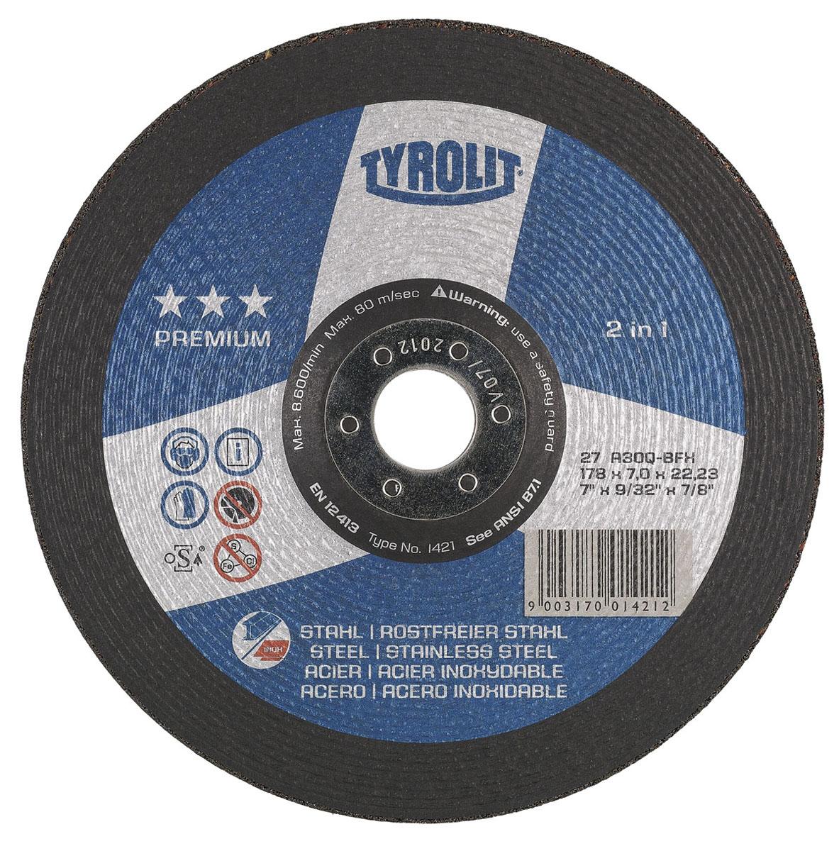 Диск абразивный зачистной Tyrolit Premium 2 in 1, 178 мм х 7 мм х 22,23 мм. 14211421Диск абразивный зачистной Tyrolit Premium 2 in 1 - высокопроизводительный круг для грубой зачистки, созданный специально для обработки стали и Inox, для быстрой и удобной работы. Особенности диска: Максимальная мощность 80 м/с. Связка из синтетической смолы. Армирование волокнистыми материалами. Высокая отрезная способность. Высокая безопасность продукта. Запатентованная конструкция шлифовальных дисков. Угол шлифования в 20-30°.