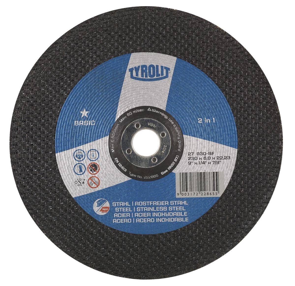 Диск абразивный зачистной Tyrolit Basic 2 in 1, 125 мм х 6 мм х 22,23 мм. 222860222860Диск абразивный зачистной Tyrolit Basic 2 in 1 - круг для грубой зачистки различных видов стали (включая высококачественные сорта стали и литейные материалы). Особенности диска: Связка из синтетической смолы. Армирование волокнистыми материалами. Высокая отрезная способность. Высокая безопасность продукта. Запатентованная конструкция шлифовальных дисков. Угол шлифования в 20-30°.