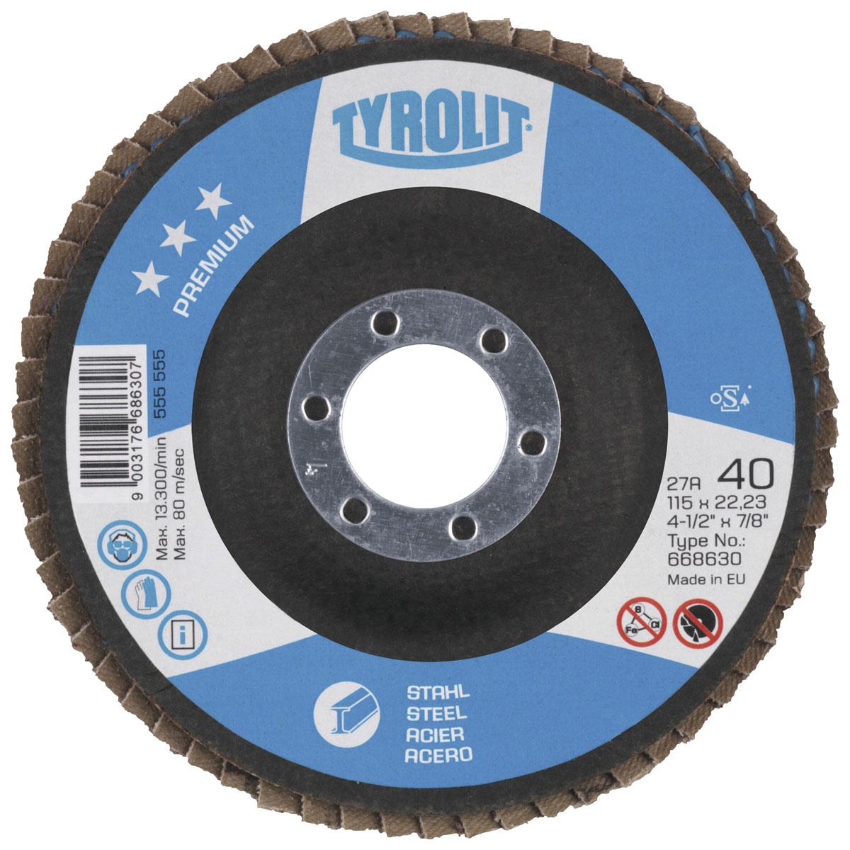 Диск абразивный зачистной Tyrolit Premium, лепестковый, 125 мм х 10 мм х 22,23 мм. 668634668634Диск абразивный зачистной Tyrolit Premium - широко используемый профессиональный инструмент для универсальных работ по шлифованию и зачистной работе, благодаря использованию оксида алюминия и циркониевого корунда. Особенности диска: Максимальная рабочая скорость: 80 м/с. Несущий диск из стекловолокна. Самоизнашиваемый. Малошумный. Холодное шлифование. Используется без опорного диска. Не царапает обрабатываемое изделие. Низкое содержание Fe, S, Cl 0,1%.