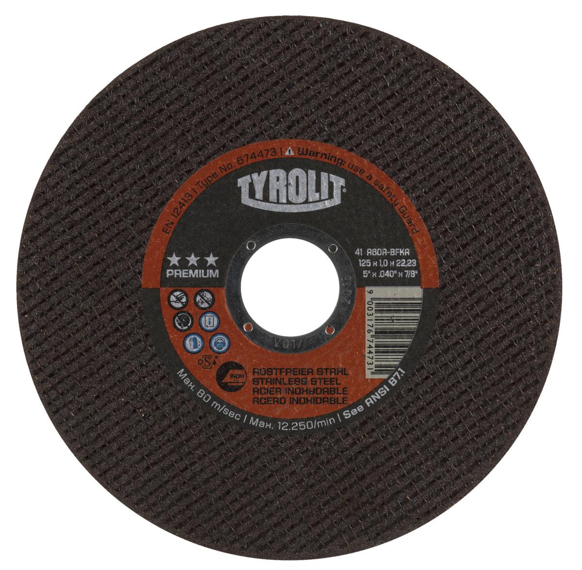 Диск абразивный Tyrolit Premium, 125 мм х 1 мм х 22,23 мм. 41 A60R-BFKA674473Диск абразивный Tyrolit Premium предназначен для резки тонкостенного листового металла, профилей, труб и прутьев (малого поперечного сечения) из антикоррозионных и кислотостойких сталей. Особенности диска: Максимальная рабочая скорость: 80 м/с. Связка из синтетической смолы. Армирование волокнистыми материалами. Быстрое разрезание. Минимум отходов при резке. Чистые поверхности среза. Высокая безопасность продукта. Все спецификации INOX с ограничениями пригодны для ALU. Инновационные и экономические преимущества отрезных кругов Premium проявляются в первую очередь при резке тонкого листового металла и тонкостенных профилей. Преимущества: высочайшая производительность, продолжительный срок службы, чистые поверхности среза, незначительное количество заусенцев и низкая термическая нагрузка на заготовку. Благодаря универсальной системе цветового кодирования, вы всегда сможете найти нужный продукт для...