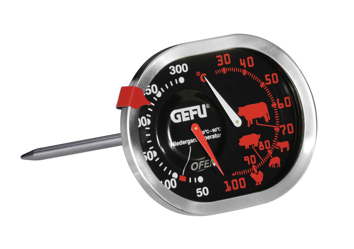 Термометр для жарки Gefu, цвет: серебристый21800Термометр Gefu позволяет одновременно определять температуру духовки и запекаемого в ней блюда. Температура духовки определяется в диапазоне от 50 до 300°C, продуктов - от 30 до 100°C. Такой термометр займет достойное место среди аксессуаров на вашей кухне. Характеристики: Материал: нержавеющая сталь, пластик. Цвет: серебристый. Размер термометра: 8,5 см х 12,5 см х 6,5 см. Размер упаковки: 11,5 см х 15,5 см х 7,5 см. Производитель: Германия. Артикул: 21800.