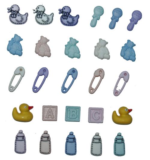 Пуговицы декоративные Dress It Up Крошка, 25 шт. 77020517702051Набор Dress It Up Крошка состоит из 25 декоративных пуговиц, выполненных из пластика в форме вещей, с которыми ассоциируются маленькие дети. Такие пуговицы подходят для любых видов творчества: скрапбукинга, декорирования, шитья, изготовления кукол, а также для оформления одежды. С их помощью вы сможете украсить открытку, фотографию, альбом, подарок и другие предметы ручной работы. Пуговицы разных цветов имеют оригинальный и яркий дизайн.